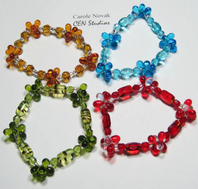 amber, ruby, aqua and olivine stretch bracelets